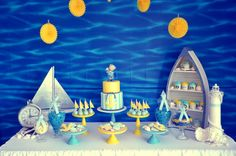 Nautical Themed Baby Shower, Blue Yellow Dessert Table, CAndy Table, Lolly Bar