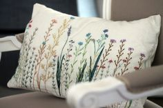 Little flower embroidered pillow