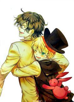 Pandora Hearts official art Jun Mochizuki- Gilbert Nightray being hugged by Oz