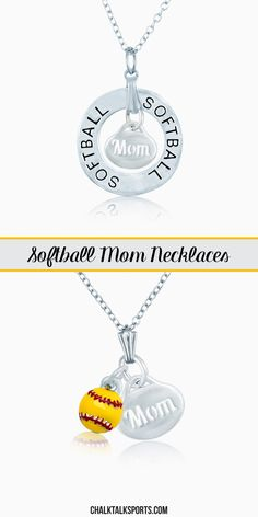 Show your mom how much you appreciate her with one of our softball mom necklaces!  She will love to show off her support for her softball star and her love for the game!  These silver plated softball necklaces are perfect gifts for any softball mom to wear and love! Only from ChalkTalkSPORTS.com!
