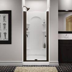Sterling™ Finesse™ x Deep Bronze Semi-Frameless Pivot Shower Door with Clear Glass Bathtub Doors, Bathtub Shower, Shower Doors, Bathroom Medicine Cabinet, Clear Glass, Mirror, Cheryl, Bathroom Ideas, House