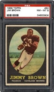 PSA 8 Jim Brown rookie card from 1958.  Here's a list of the top 5 1950s football rookie cards:  http://vintagegradedfootballcards.com/top-5-1950s-football-rookie-cards