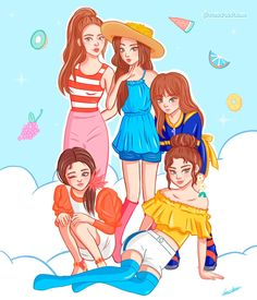 Seulgi, Kpop Drawings, Cute Drawings, Red Velvet Smtown, Irene, Neko, South Korean Women, Paris Canvas, Red Valvet