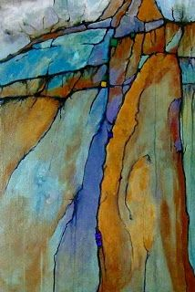 "Mixed Media Artists International: Geologic Abstract Mixed Media Painting ""Ice Age"" by Colorado Artist Carol Nelson"