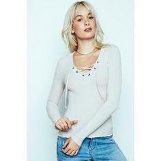 Lace-Up Ribbed Top Urban Planet, Ribbed Top, Guys And Girls, Girl Fashion, Lace Up, Blouse, Long Sleeve, Sleeves, Shopping