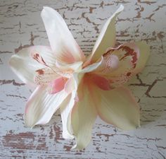 Hawaiian Ivory  Pink Two Orchids hair flower clip 5 by olgadesigns, $9.00