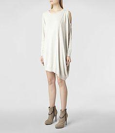 Womens Sago Dress (Oyster Marl) | ALLSAINTS.com