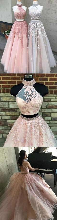 Custom made two pieces lace long prom dress, lace evening dress, lace two pieces long formal dress