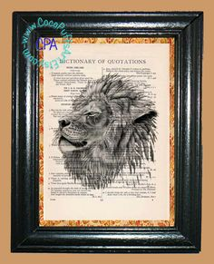 Drawing of an African Lion - - Vintage Dictionary Book Page Art-Upcycled Page Art,Wall Art,Collage Art, Feline Art, Lion Print by CocoPuffsArt on Etsy