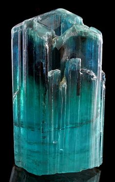 Fine terminated crystal of Indicolite Tourmaline ~ From the Laghman Province, Nuristan, Afghanistan.