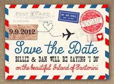 Airmail Love Story Save the Date- just love this postcard theme