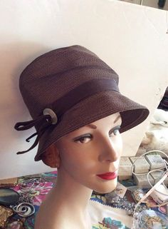 Vintage 1950s Hat Brown Straw Styled By Juli-Kay Chicago