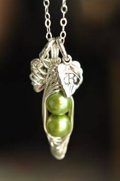 peapod necklace with custom initials