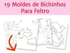 19 moldes bichinhos feltro