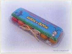 Caixa com 12 ovinhos de chiclete, com decoração e etiqueta personalizada. Pode ser usado também para os temas fazendinha, cocoricó. R$ 2,99