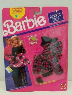 1990 MIP BARBIE DOLL DINNER DATE FASHION PLAID SKIRT W SHEAR BLACK BLOUSE #4937