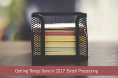 Getting Things Done In 2017: Batch Processing :  Do you ever get that feeling that once you've completed one thing you can just power on through the rest of your to-do list. You can up your productivity game even more with batch processing. :  https://www.flippingheck.com/getting-things-done-in-2017-batch-processing