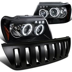 Black LED DRL Halo Projector Jeep Grand Cherokee Headlights and WJ Hood Grille