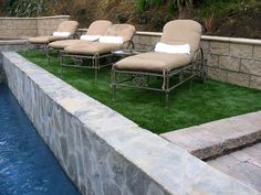 EasyTurf artificial grass is the perfect option for around your pool. No discoloration or clippings to fall into your pool. www.easyturf.com l pool l design l modern design l artificial turf