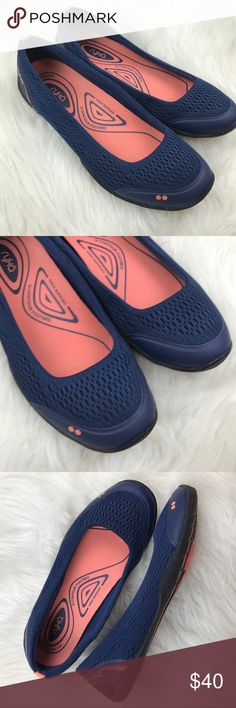 Ryka Serena mesh Ballet Blue Flats Sz. 7 These were only worn once and look new. Ryka Serena slip ons. Arch support. Size 7. B9 Ryka Shoes Athletic Shoes