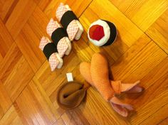 Sushi cat toys made from scrap fabric - stuff with catnip
