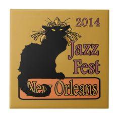 Jazz Fest Chat Noir 2014 Ceramic Tiles by Louisiana artist.