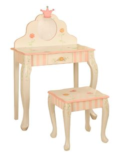 Little S Vanity Table And Chair Set Crown Collection Childrens
