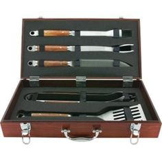A gorgeous BBQ Tool Set packed in a premium case. For the serious Grill Master in the house! Think...Mother's Day, Father's Day, birthday, bridal shower gift, wedding gift!! See this grill set and more at www.gigisbigbackyard.com!