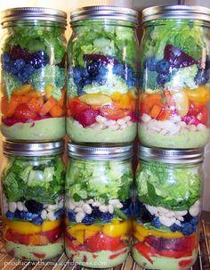 Harvest Rainbow Mason Jar Salad with Creamy Pesto Dressing. Plant-Based Recipes.