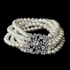 White/Ivory Pearl and Crystal Vintage Stretch Bridal Bracelet $28.00