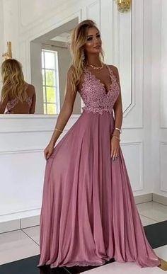 Deep V-neck Sexy Long Prom Dress with Applique, Popular School Dance D – PromDressForGirl