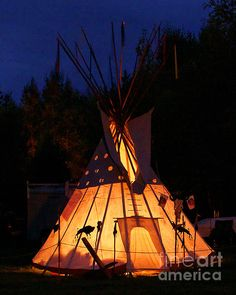 Native American Indian Teepee At Pow Wow