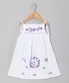 White & Purple Lorena Dress - Infant & Girls