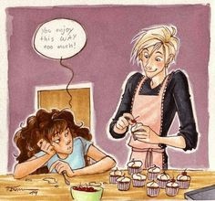 Dramione. Draco enjoys his cupcakes.