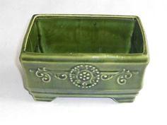 Vintage Green Rectangle Pottery Planter Medallion Fleur-de-Lis