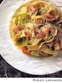 Tagliatelle with Leeks and Shrimp -- Just a few ingredients to make this delicious pasta!