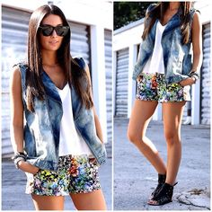 Joie Tank, Forever 21 Vest, Forever 21 Shorts, Ray Ban Sunglasses, Just Fab Sandals