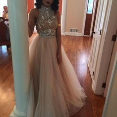 Charming Prom Dress,Tulle Prom Dress,A-Line Prom Dress,High-Neck Prom Dress,Beading Prom Dress,Noble Prom Dress