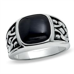 Zales Mens Cushion-Cut Onyx Ring in Sterling Silver with Diamond Accents ducLzlCmlt