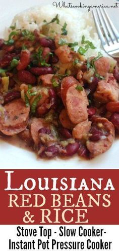 Red beans and Rice is Louisiana comfort food and a treasured Monday tradition. Stove top, slow cooker and Instant Pot Pressure Cooker instructions. Cajun Recipes, Bean Recipes, Rice Recipes, Crockpot Recipes, Cooking Recipes, Cooking Ideas, Recipies, Cookbook Recipes, Slow Cooker Sausage Recipes