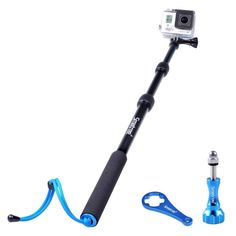 Smatree® SmaPole S1 All-aluminum alloy 16″-40″ GoPro Handheld Pole integrated with aluminium alloy Tripod mount and Nut for GoPro Hero 1, 2,3,3+,4 Digital Camera.