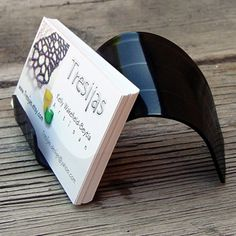 recycled vinyl record business card holder...great idea!