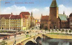 Postkarte, Berlin, Waisenbrücke mit Märkischem Museum, um 1910.