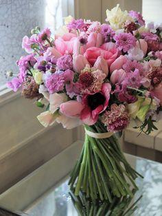 HELLO SPRING!  tulip,anemone and scabiosa