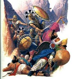 Spartans fighting the Persians at Thermopylae. Greek Warrior, Fantasy Warrior, Ancient Greek City, Ancient Greece, Greek History, Ancient History, Greco Persian Wars, Egyptian Drawings, Warrior Of The Light
