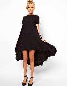 Womens cute loose chiffon dress with dovetail and swing trapeze hem