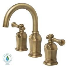 Verdanza Series 8 in. Widespread 2-Handle High-Arc Bathroom Faucet in Antique Brass