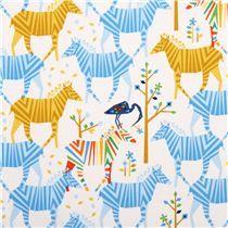 Tissu Michael Miller blanc Show Your Colors coll. Origami, zèbres jaunes & bleus