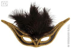 The swallow eyemask is a beautiful black eyemask with an embroidered gold trim and soft black feathers. Elegant Masquerade Mask, Black Feathers, Eye Masks, Swallow, Gold, Beautiful, Swallows, Barn Swallow