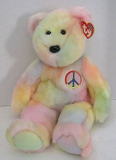 7fd8a248c88 Beanie Buddies 19206  Ty Beanie Buddy 15 Teddy Peace New W Tag 1999 Light  Great